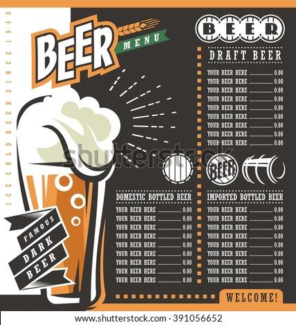 Beer menu retro design template. Pub price list with famous dark beer. - stock vector
