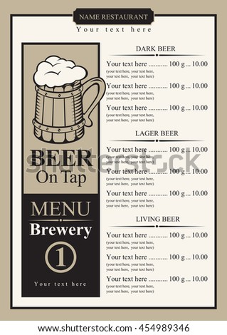 Draft Beer Menu Price List Picture Stock Vector