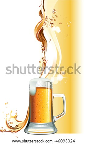 Beer mug. All elements and textures are individual objects. Vector illustration scale to any size. - stock vector