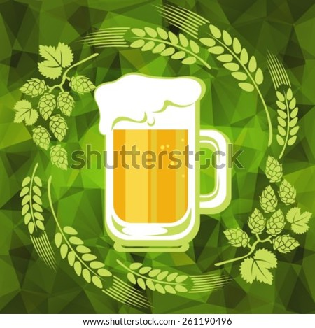 Beer mug and floral pattern on a green polygonal background. EPS-10 - stock vector