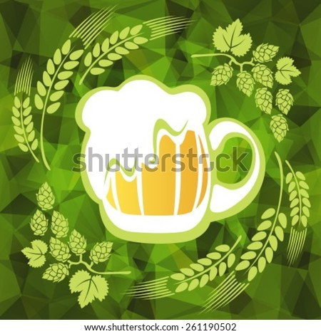 Beer mug and hop on a green polygonal background. EPS-10 - stock vector
