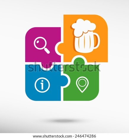 Beer mug icon on colorful jigsaw puzzle  - stock vector