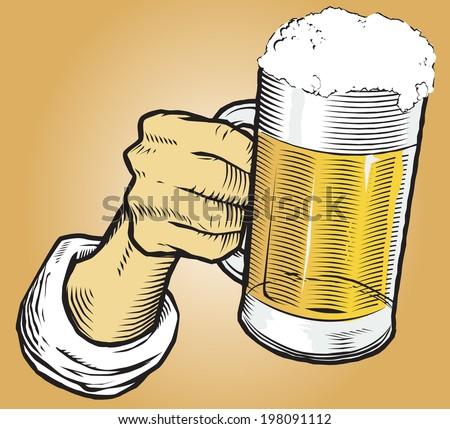 Beer Mug in Hand - stock vector