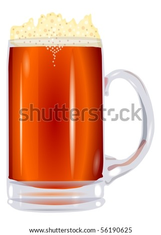 beer mug is isolated on a white background the transparent vector eps10 - stock vector
