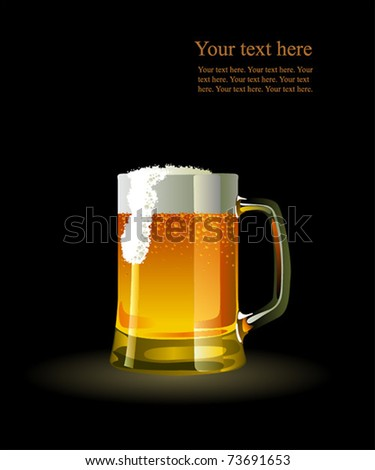 Beer mug with froth over black background - stock vector