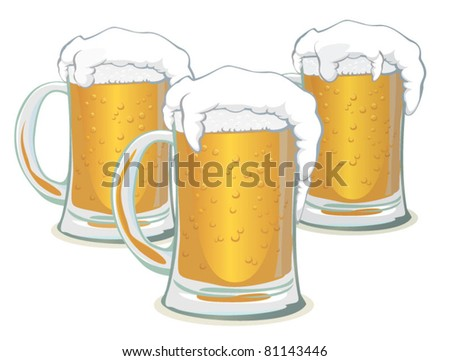 beer mugs - stock vector