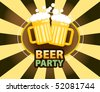 Beer mugs with froth over yellow and brown background, vector illustration - stock vector