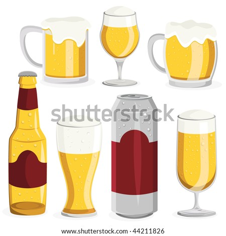 Beer Object Set. Vector Illustration. - stock vector