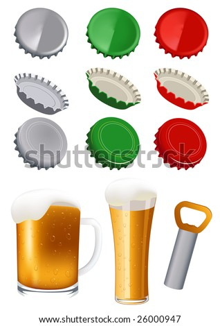 Beer objects, vector illustration - stock vector