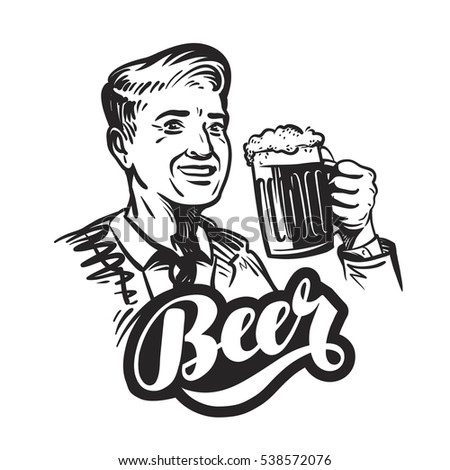 Beer or pub. Happy smiling man with mug of fresh ale. Vector illustration