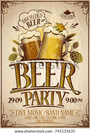 Beer Party Poster Design Concept Vintage Style