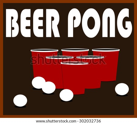 beer pong design with cups and balls - stock vector