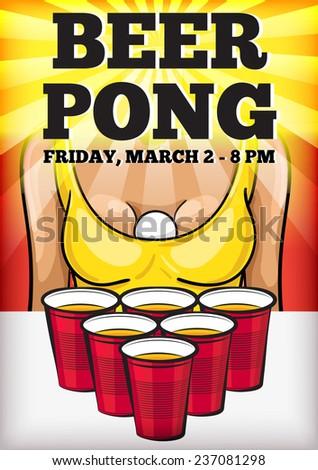 Beer Pong Party Vector Poster Red Stock Vektorgrafik