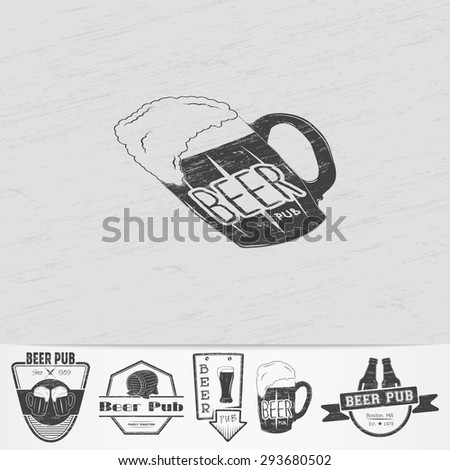 Beer pub. Brewing old school of vintage label. Old retro vintage grunge. Scratched, damaged, dirty effect. Monochrome typographic labels, stickers, logos and badges. Flat vector illustration - stock vector