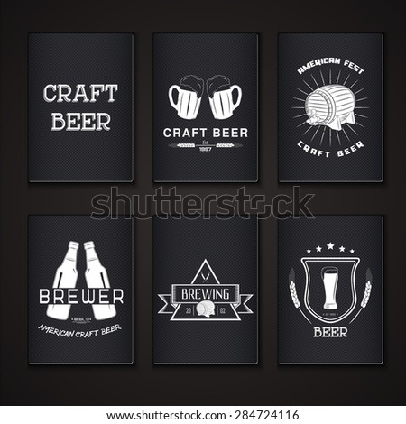 Beer pub set. Brewing typographic labels, logos and badges. Flat vector illustration - stock vector