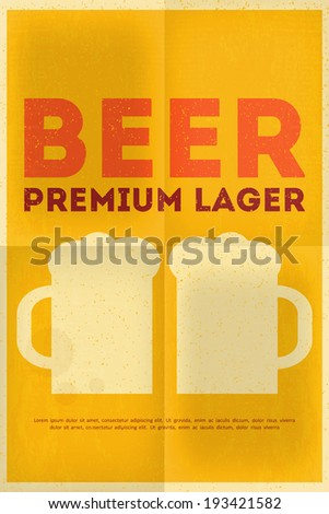 Beer Retro Poster in Flat Design Style. Mug of Beer. Vector Illustration. - stock vector