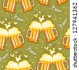 beer seamless pattern.Vector glasses of beer background for design - stock vector