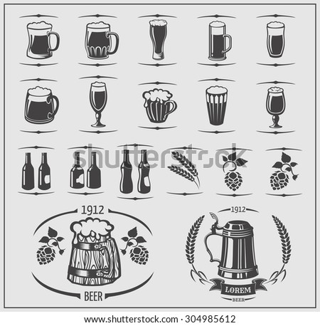 Beer set: mugs and bottles, barley, beer labels and logos. Isolated elements for Oktoberfest. - stock vector