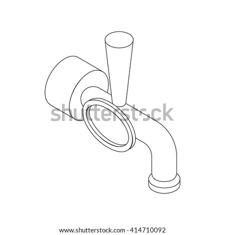 Beer tap icon, isometric 3d style - stock vector