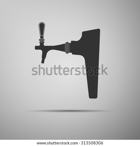 Beer tap icon on grey background