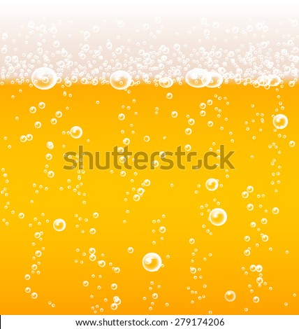 Beer texture with bubbles and foam, vector illustration - stock vector