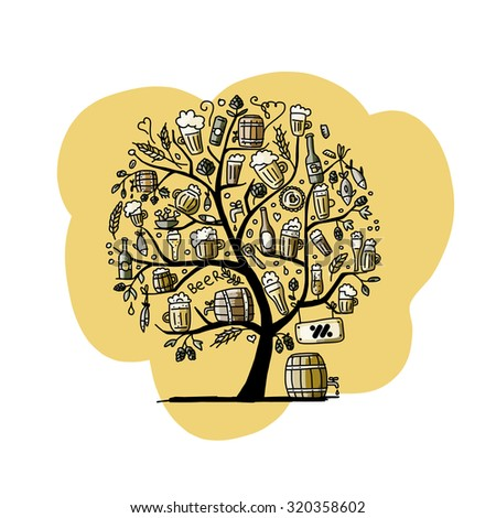 Beer tree, sketch for your design. Vector illustration - stock vector