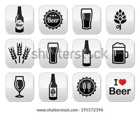 Beer vector buttons set - bottle, glass, pint - stock vector