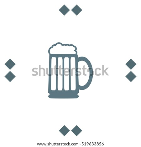 Beer vector icon. Bar sign. Pub symbol. Glass of alcohol drink sign. Brewery symbol.