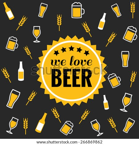 Beer vector icons background - bottle, glass, pint  - stock vector