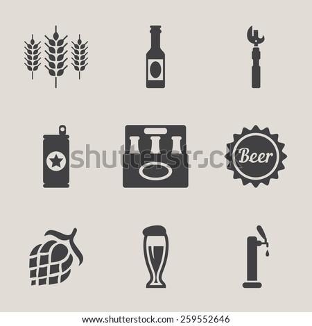 Beer vector icons set bottle, glass, pint - stock vector