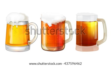 beer vector mugs isolated on a white background