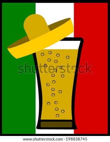 beer wearing sombrero mexican flag colors stock vector 198838745