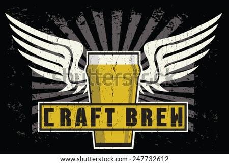 beer wings - stock vector