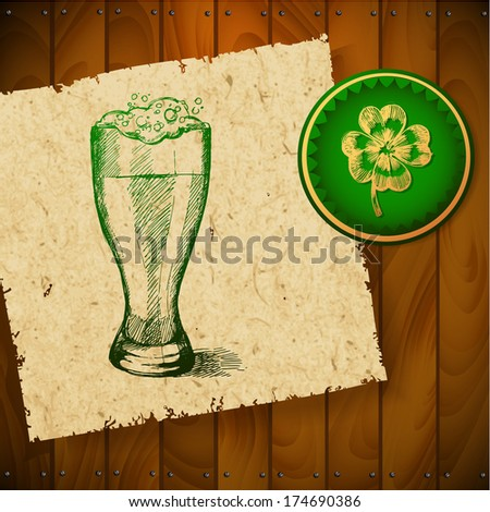 Beer with clover for St Patrick's day GREETING CARD - stock vector