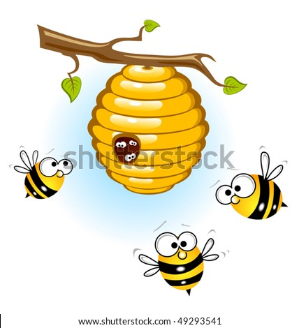 Bees and a beehive - stock vector
