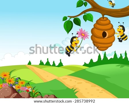 Bees cartoon holding flower and a beehive with forest background - stock vector
