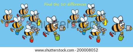bees - find the ten differences - stock vector