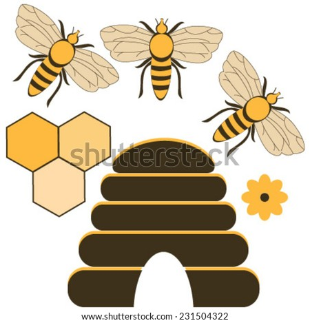 bees icons - stock vector