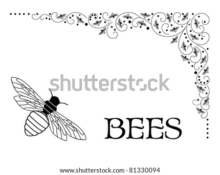Bees intermingled in corner flourish (bees' lower bottom shaped like a bee hive as showen in large corner bee) - stock vector