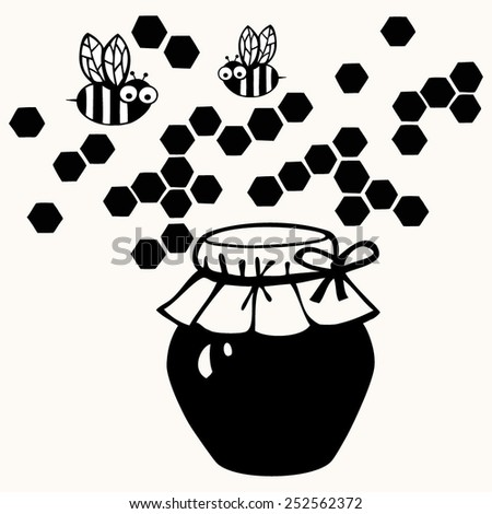Bees on honey cells isolated on white background. Ilustration - stock vector