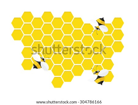 bees on honey comb - stock vector