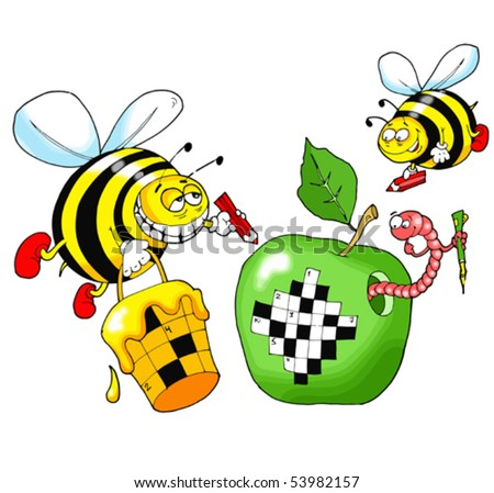 Bees solve a crossword puzzle written on a green apple - stock vector
