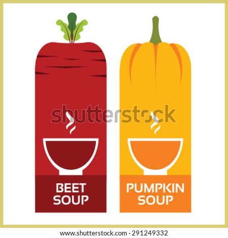 pea soup, beet soup, tomato soup and cream soup - stock vector