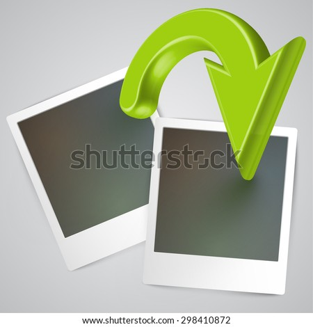 Before-after pictures with an arrow, vector - stock vector
