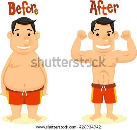 before and after diet weight loss - stock vector