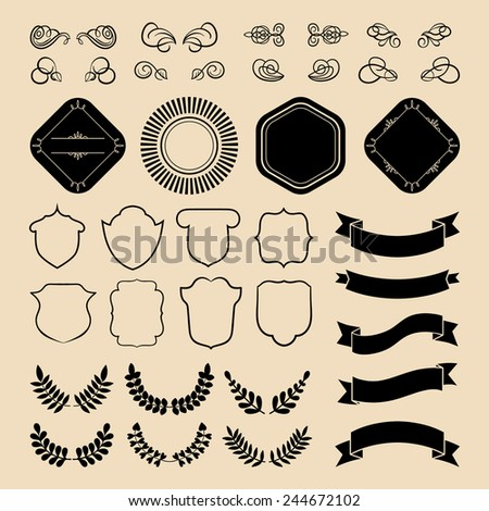 Beg vector set of vintage bundle logos with ribbons, laurels and badges in  flat style.  Hipster logo constructor with retro elements - stock vector