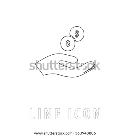 beggar Outline simple vector icon on white background. Line pictogram with text  - stock vector