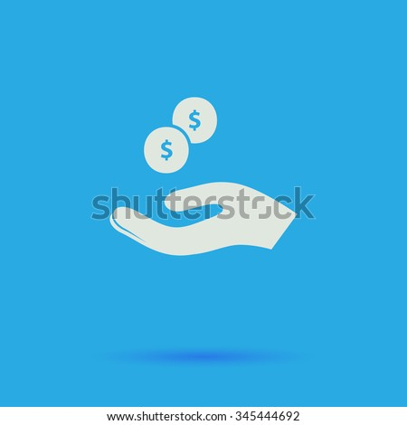 beggar White flat vector simple icon on blue background with shadow  - stock vector