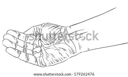 Begging hand, detailed black and white lines vector illustration, hand drawn. - stock vector