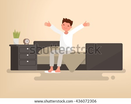 Beginning a good day. Man woke up. Vector illustration of a flat design - stock vector